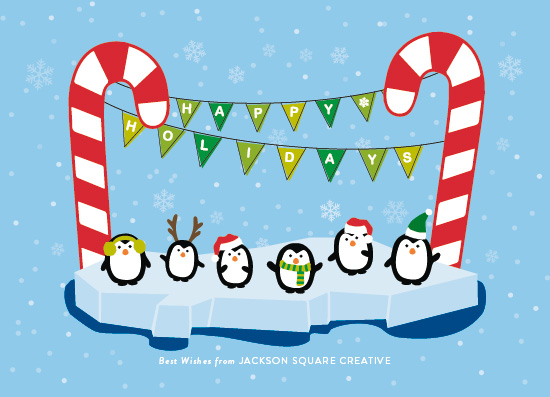 non-photo holiday cards - Dancing Penguins by AS Designs