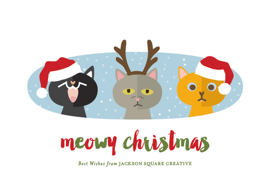 non-photo holiday cards - 3 Cats by AS Designs