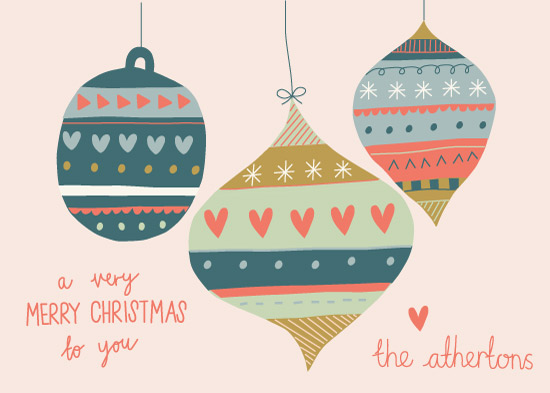 non-photo holiday cards - Festive Baubles by Emily Atherton