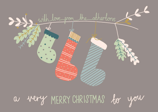 non-photo holiday cards - Hang the Stockings by Emily Atherton