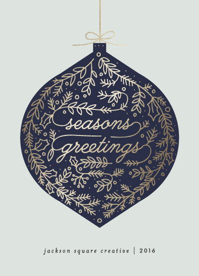 non-photo holiday cards - Foiled Bauble by Bethan