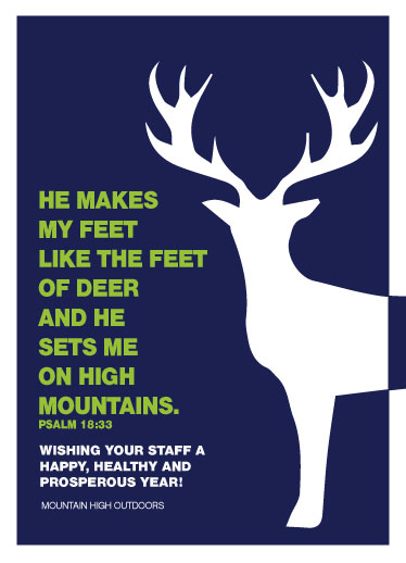 non-photo holiday cards - DEER PSALM 18:33 by Bronwyne Carr Chapman