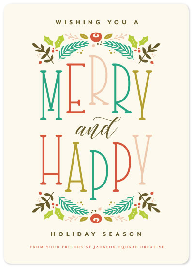 non-photo holiday cards - Merry + Happy by Three Kisses Studio