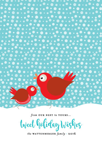 non-photo holiday cards - Tweet Holiday Wishes by Papermine Studio
