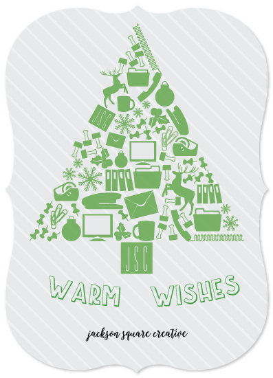 non-photo holiday cards - Office Supply Tree by Emily Ripka