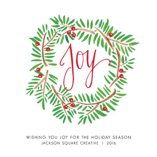 non-photo holiday cards - Hand Drawn Joy Wreath by Bri Davey