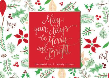 Hand Drawn Merry and Bright Card