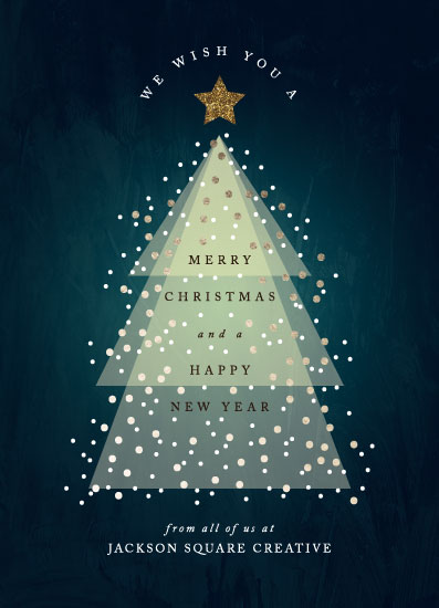 non-photo holiday cards - Glowing Christmas Tree by Playground Prints