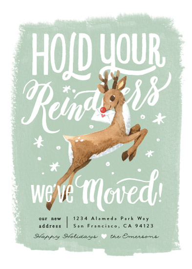 non-photo holiday cards - Hold Your Reindeers by Four Wet Feet Studio