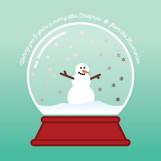 non-photo holiday cards - Snowy globe by Moy Creative