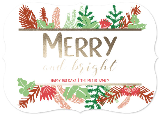 non-photo holiday cards - Merry and Bright Greenery by Emily Ripka