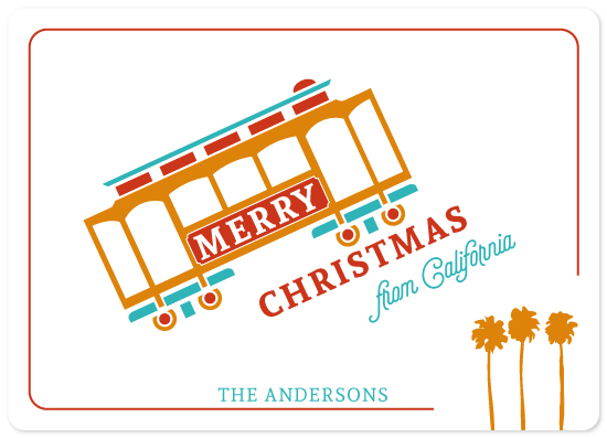 non-photo holiday cards - merriest cable car by illustrata.design