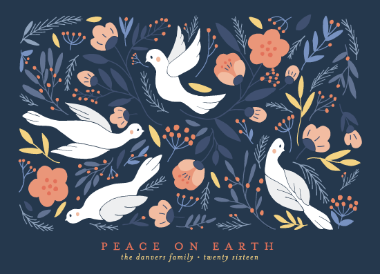 non-photo holiday cards - Birds Botanical Peace by curiouszhi design