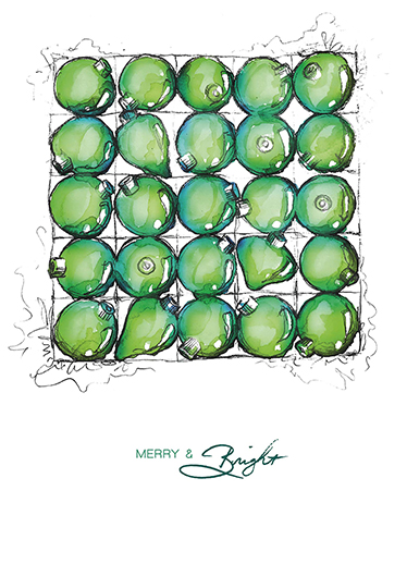 non-photo holiday cards - Glossy Bulbs by Christina Oertel