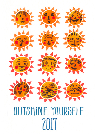 non-photo holiday cards - Outshine yourself in the new year by Jingwen Ma