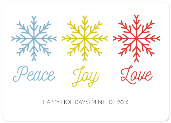 non-photo holiday cards - Three Snowflakes by Kailyn Glassmacher