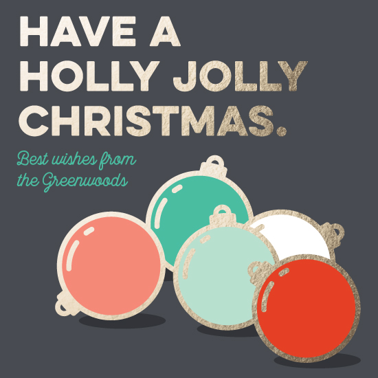 non-photo holiday cards - Holly Jolly Ornaments by Moy Creative