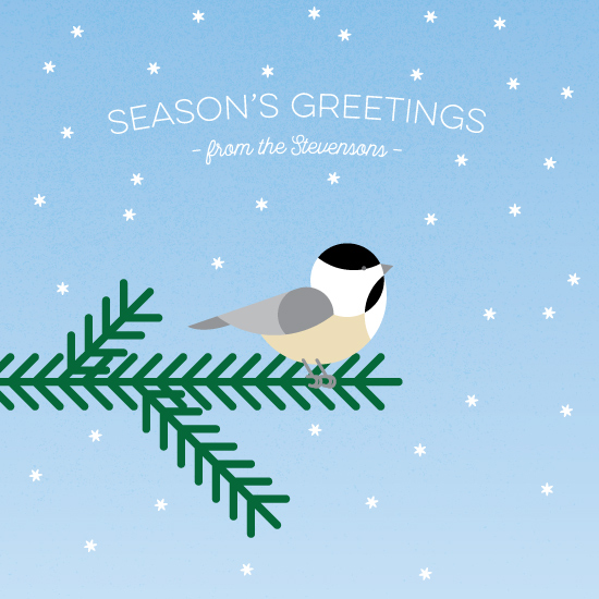 non-photo holiday cards - Cheery Chickadee by Moy Creative