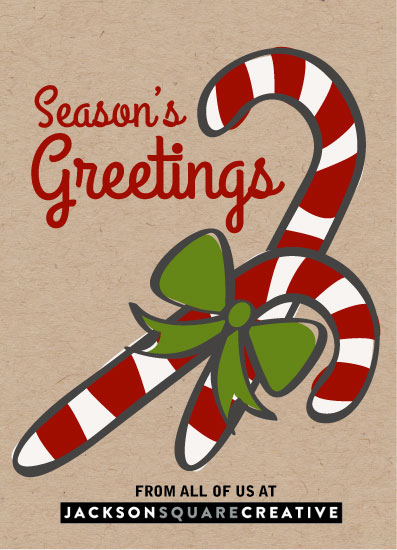 non-photo holiday cards - Candy cane thank you by Judith Clifford