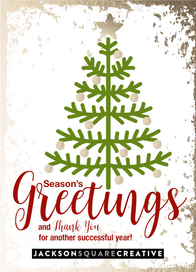 non-photo holiday cards - Christmas tree greetings by Judith Clifford