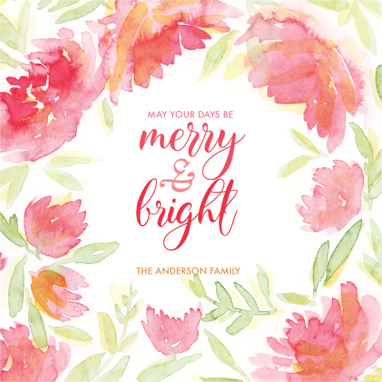 non-photo holiday cards - Merry & Bright Floral Wreath by Taniya Varshney
