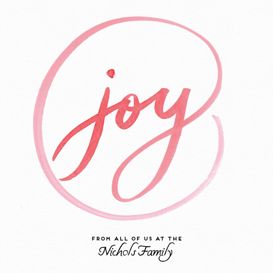non-photo holiday cards - Joy Wreath by Taniya Varshney