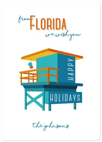 non-photo holiday cards - Florida beach holiday by illustrata.design