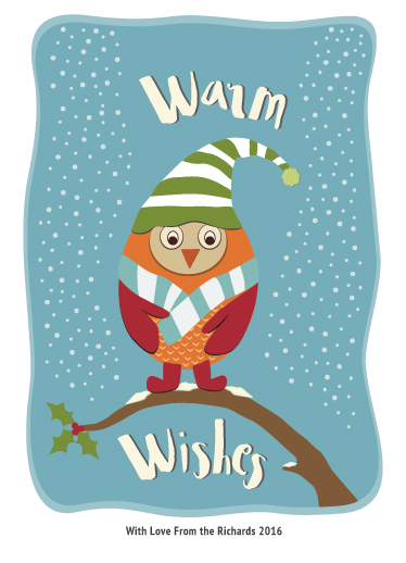 non-photo holiday cards - Wintry Owl by Pippin Schupbach