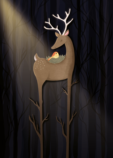non-photo holiday cards - A different kind of forest dweller by Gila von Meissner