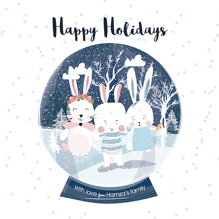 non-photo holiday cards - Bunny snow Globe by MENNATALLA ALSAYED