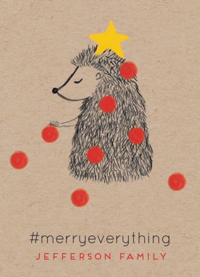 non-photo holiday cards - Hedgehog Festivities by Ilze Lucero