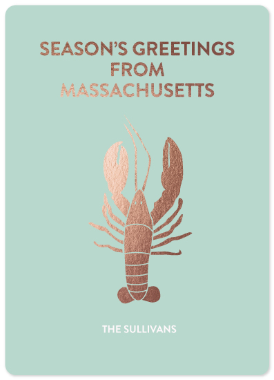 non-photo holiday cards - Massachusetts Lobster by illustrata.design