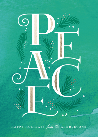 non-photo holiday cards - Inline peace by Jennifer Wick