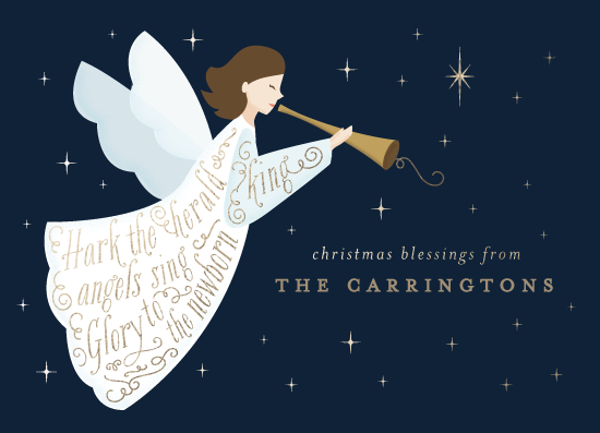 non-photo holiday cards - Herald Angel by curiouszhi design