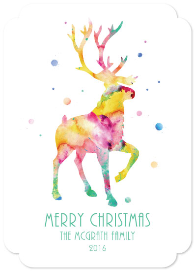 non-photo holiday cards - Watercolor Reindeer by Marina Markova
