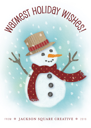 non-photo holiday cards - Happy Snowman Collage by PrintHappy Designs