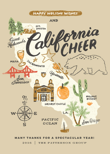 non-photo holiday cards - California Cheer by Griffinbell Paper Co.