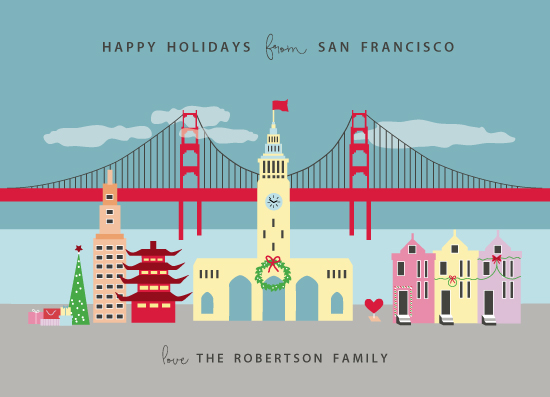 non-photo holiday cards - Greetings from San Francisco by Kanika Mathur
