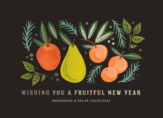 non-photo holiday cards - fruitful new year by Karidy Walker