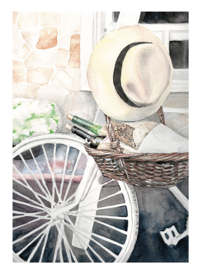 art prints - Tuscan Picnic Bike Ride by Erica Sorg