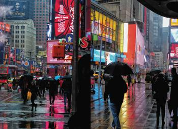 Broadway-Times Sq NYC Raining Reflections