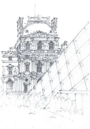 art prints - Louvre Pyramid by Laura Malkasian Huggins