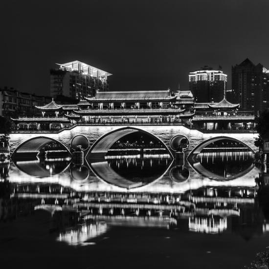 art prints - Ancient bridge in modern city by Peter Stein