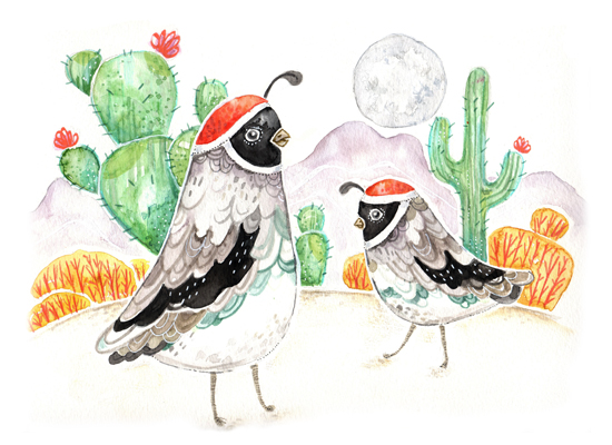art prints - Desert Quail at Dusk by Traci Sally