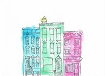 Watercolor Brownstone by Best Couple Ever Designs