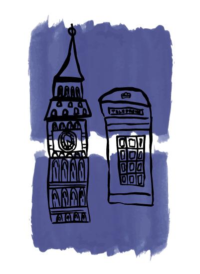 art prints - London Blues by Hannah Langford
