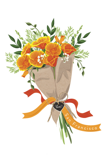 design - California Poppy Bouquet by Susan Moyal