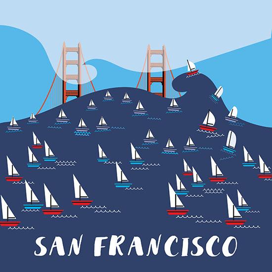 design - Sail on San Francisco by Annie Bakst
