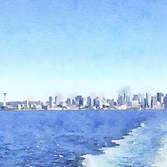 art prints - Seattle from Sea by Little Ivy Paper Goods