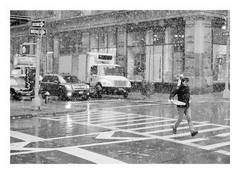 burst of snow in flatiron new york